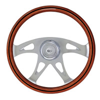 "Steering Wheel 18"" Mahogany ""Ace W/Black Line"" (Requires 3 Hole Hub)"