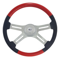 "Steering Wheel 18"" Classic Combo ""Viper Red"" & Leather (Requires 3 Hole Hub)"