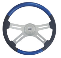 "Steering Wheel 18"" Classic Combo ""Blue & Leather"" (Requires 3 Hole Hub)"