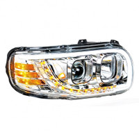 CHROME PROJECTION HEADLIGHT W/ LED PAIR