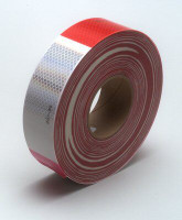"RED/WHITE REFLECTOR TAPE 2"" WIDE. SOLD BY THE FOOT."