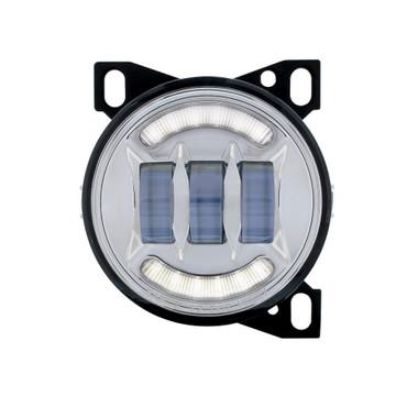 """4 1/4"""" Chrome Round LED Fog Light with LED Position Light Bar for Peterbilt 579/587 & Kenworth T660 Series"""