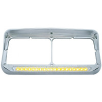 19 LED Rectangular Dual Headlight Bezel W/ Visor - Amber LED/Clear Lens
