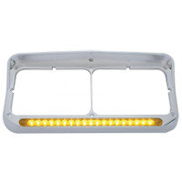 19 LED Rectangular Dual Headlight Bezel W/ Visor - Amber LED/Amber Lens