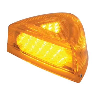 37 LED Peterbilt Turn Signal Light W/ Chrome Base - Amber LED/Amber Lens