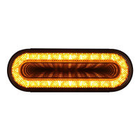 "24 LED 6"" Oval Mirage Turn Signal Light - Amber LED/Clear Lens"