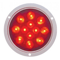 "12 LED 4"" Deep Dish Stop, Turn & Tail Light - Red LED/Red Lens"