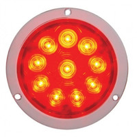 "10 LED 4"" Deep Dish Stop, Turn & Tail Light - Red LED/Red Lens"