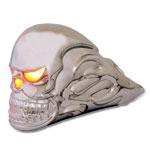 Chrome Lighted Flaming Skull Hood Ornament