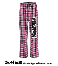 Pink/Black Flannel Pants with Phenom logo down left leg
