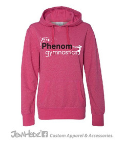 Pink Ladies' Glitter Hoodie with Phenom Gymnastics logo