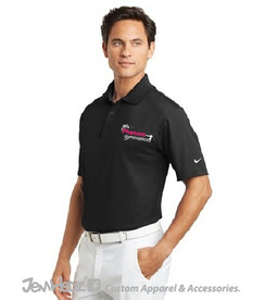 Black Nike Dri-FIT Polo with Phenom Gymnastics embroidered logo on left chest