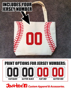 White baseball print canvas tote with jersey number