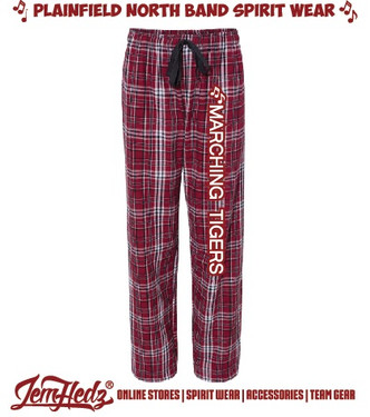 "Garnet/Black Boxercraft Flannel Pants with white ""Marching Tigers"" down left leg"