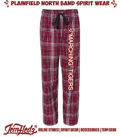 """Garnet/Black Boxercraft Flannel Pants with white """"Marching Tigers"""" down left leg"""