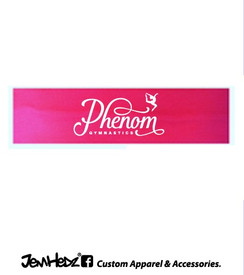 Pink stretchy cotton headband with Phenom ribbon logo in white print