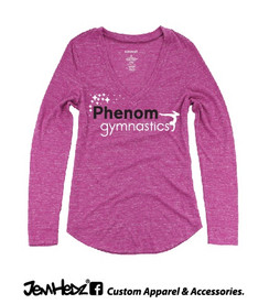 Fuchsia Heather Phenom Ladies'/Girls' Long Sleeve V-Neck T with Phenom Gymnastics star logo