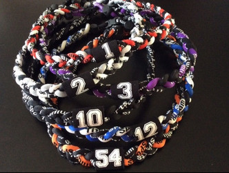 """Color Options for Customizable 20"""" Braided 3-Rope Sport Necklace with Jersey Number!"""