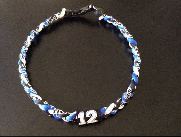 Royal Blue//Black//White Braided 3 Rope Sport Necklace with Jersey Number!