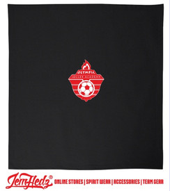 Black Fleece Blanket with Olympic Soccer logo in standard print