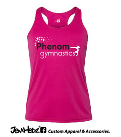 Fuchsia Racerback Tank with Phenom Gymnastics star logo
