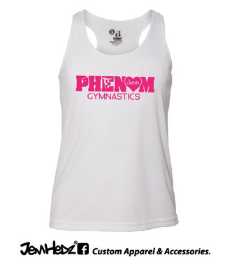 White Racerback Tank with Phenom Gymnastics uniform logo