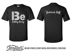 """Black Short Sleeve T-Shirt with Bulldog Strong logo on front and """"Yearbook Staff"""" on back"""