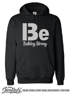 Black Hooded sweatshirt with Bulldog Strong logo on front