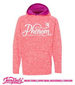 Pink Girls'/Ladies' Cosmic Hoodie with Phenom Gymnastics ribbon logo
