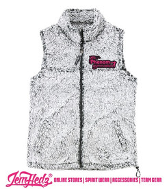 Boxercraft Light Grey Girls'/Ladies' Full-Zip Sherpa Vest with embroidered Phenom Gymnastics star logo on left chest