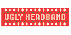 Red stretchy cotton headband with ugly sweater style holiday logo in standard print