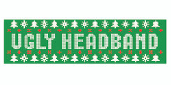 Green stretchy cotton headband with ugly sweater style holiday logo in standard print