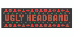 Black stretchy cotton headband with ugly sweater style holiday logo in standard print