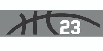 Grey stretchy cotton headband with basketball seam design and jersey number