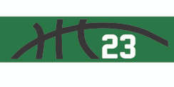 Green stretchy cotton headband with basketball seam design and jersey number