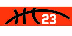 Orange stretchy cotton headband with basketball seam design and jersey number