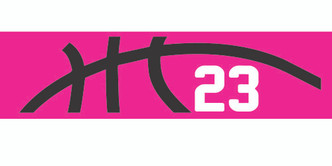 Pink stretchy cotton headband with basketball seam design and jersey number
