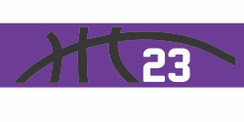 Purple stretchy cotton headband with basketball seam design and jersey number
