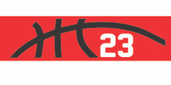 Red stretchy cotton headband with basketball seam design and jersey number