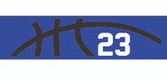 Royal blue stretchy cotton headband with basketball seam design and jersey number