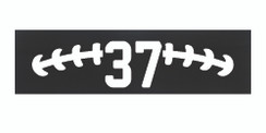 Black stretchy cotton headband with football stitch design and jersey number
