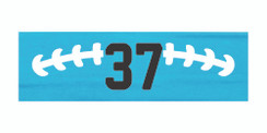 Light blue stretchy cotton headband with football stitch design and jersey number