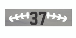 Grey stretchy cotton headband with football stitch design and jersey number