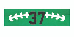 Green stretchy cotton headband with football stitch design and jersey number