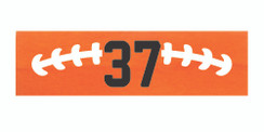 Orange stretchy cotton headband with football stitch design and jersey number