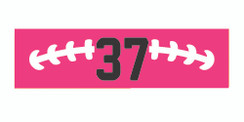 Pink stretchy cotton headband with football stitch design and jersey number