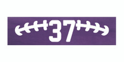 Purple stretchy cotton headband with football stitch design and jersey number