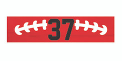 Red stretchy cotton headband with football stitch design and jersey number