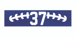 Royal blue stretchy cotton headband with football stitch design and jersey number