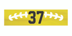 Yellow stretchy cotton headband with football stitch design and jersey number